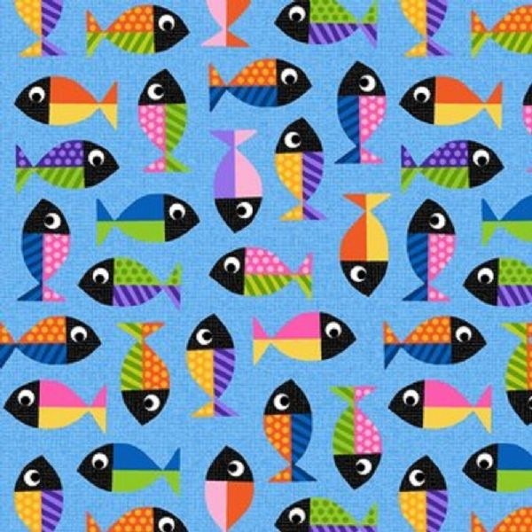 Blank Quilting  Pawsome Fish Multi Coloured Fabric